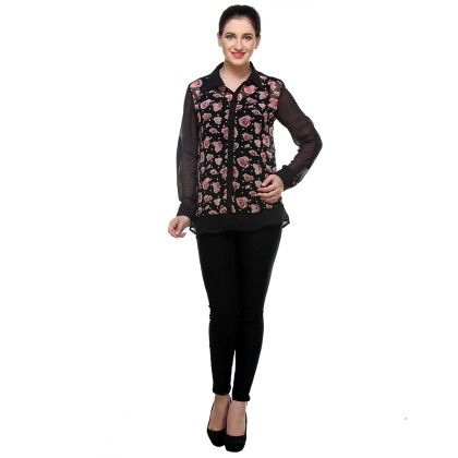 Black With Print Georgette Printed Shirt - Varanga