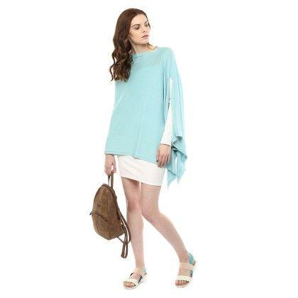 Knitted Poncho Cape Wrap Top Pearl Aqua - Pluchi