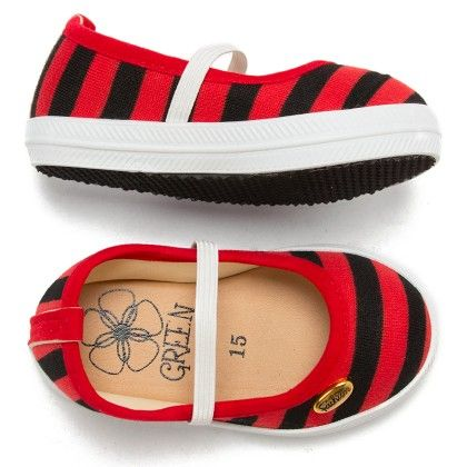 Red And Black Stripe Bellies - Infant - Green