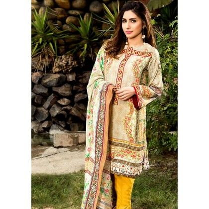 Beautiful Pakistani Style Printed Cotton Dress Material - Beige & Yellow - Afreen