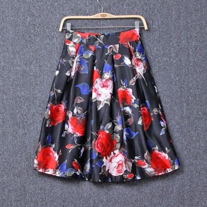 Floral Printed Navy Skirt - Dewberry