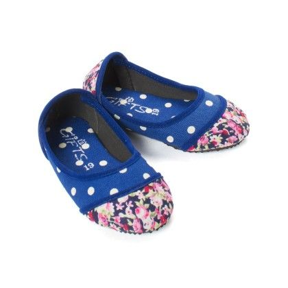 Blue Polka And Floral Print Bellies   Infant - Gift Shoes