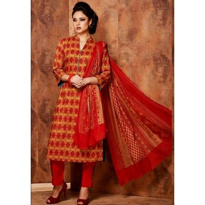 Reddish Orange Printed Cotton Dress Material - Afreen
