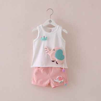 White Patchwork T-shirt And Shorts Set - Mauve Collection