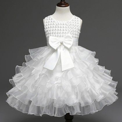 Beautiful Frill Dress-birthday Special -white - Mauve Collection