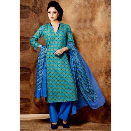 Blue Printed Cotton Dress Material - Afreen