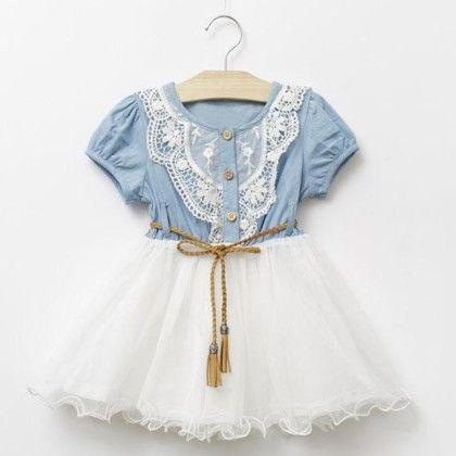 Beautiful Denim Lace Tutu Dress - Mauve Collection