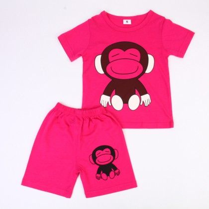 Cute Monkey Print Top & Shorts Set - Dark Pink - Ton