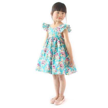 Classy Ruffle Sleeved Floral Dress - Blue - SJ