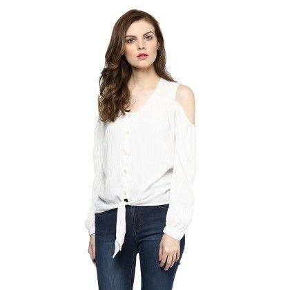 Cold Shoulder Key Sleeve Top - StyleStone