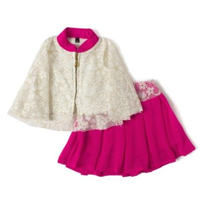 Pink Ponchu Top Fornt Zip Skirt And Top - Aww Hunnie!!