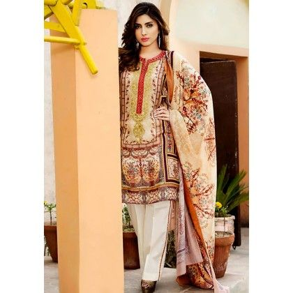 Beautiful Pakistani Style Printed Cotton Dress Material - Beige - Afreen