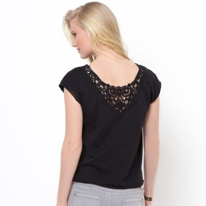 Black Basic T-shirt With Lace At Back - La Redoute