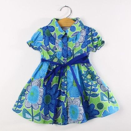 Blue Floral Print Dress With Collar And Sash Tie - Koolee