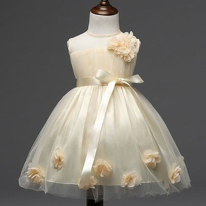 Cute And Trendy Beige Dress With Flowers And Pearls - Mauve Collection