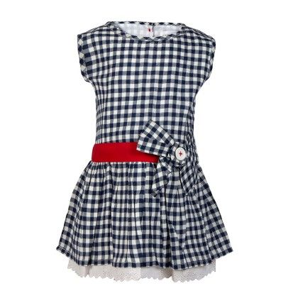 Gingham Chex Tunic With Bow & Lace At Hem-navy - Soul Fairy