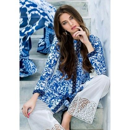 Beautiful Pakistani Style Floral Printed Cotton Dress Material - Blue & White - Afreen