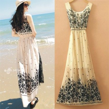 Cream Floral Print Summer Long Dress - Dell's World