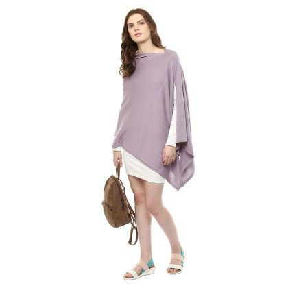 Knitted Poncho Cape Wrap Top Light  Aubergine - Pluchi