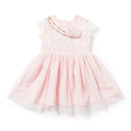 Baby Girls Dress In White & Pink Lace & Net - Chicabelle