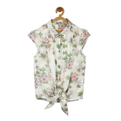 White Floral Print Cotton Top - My Lil'Berry