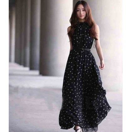 Black Polka Dot Maxi Dress - Angel's Couture