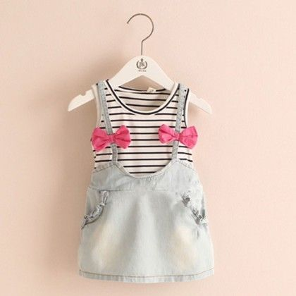 Cute Denim 2 Piece Look Dress With Pink Bows - Mauve Collection