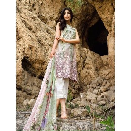 Beautiful Pakistani Style Printed Cotton Dress Material - Lt Green - Afreen