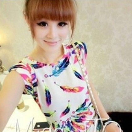 Feather Print Chiffon Short Sleeve Top - Dell's World