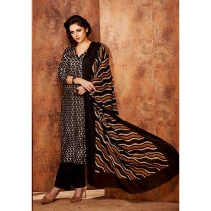 Black Printed Cotton Dress Material - Afreen