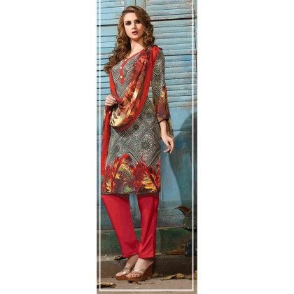 Printed Crepe Designer Wear For Classic Dress Material Red - Balloono