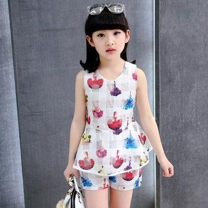 Fashion Floral Printed Shirt & Shorts Set - Tulip