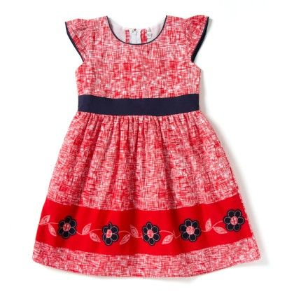 Hashtag Flower Summer Dress - Red And White - Kid1
