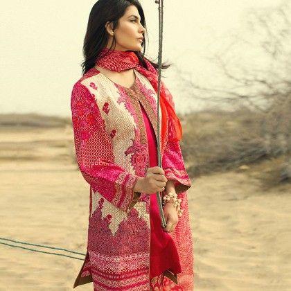 Sana Safinaz Fuchsia Embellished Semistitched Suit - Mauve Collection