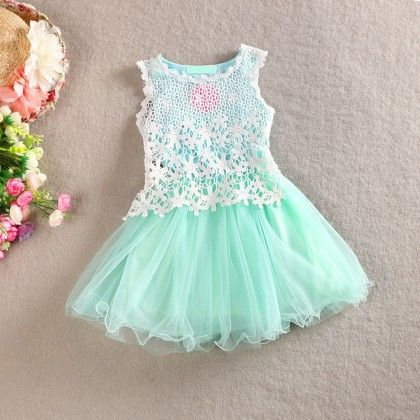 Lace Tutu - Summer Party Dress - Green - Cherry Blossoms