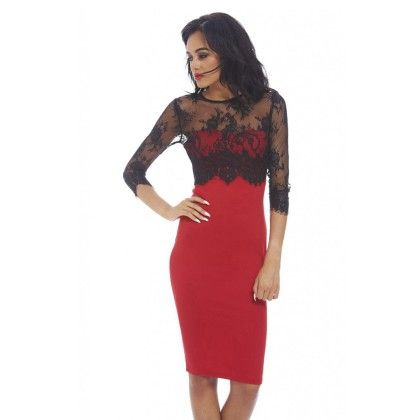 Lace And Lycra Blend Evening Dress - Red - Mauve Collection