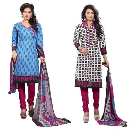 Dual Concept Of Cotton Jacquard Top With Matching Dupatta-2 Top  & 1 Bottom & 1 Duaptta White & Pink - Varanga