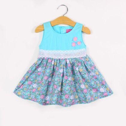 Lacy Waist Floral Print Dress- Blue - FlowerButterfly