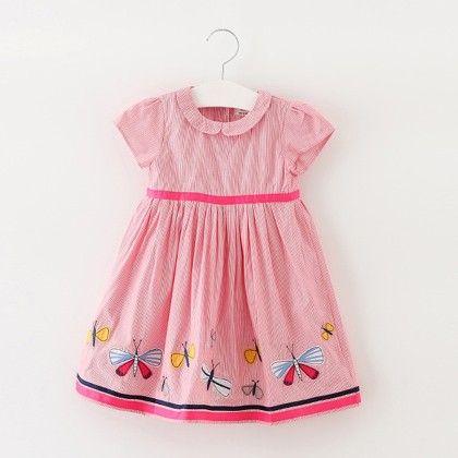 Pink Butterfly Printed Frock - Lil Mantra