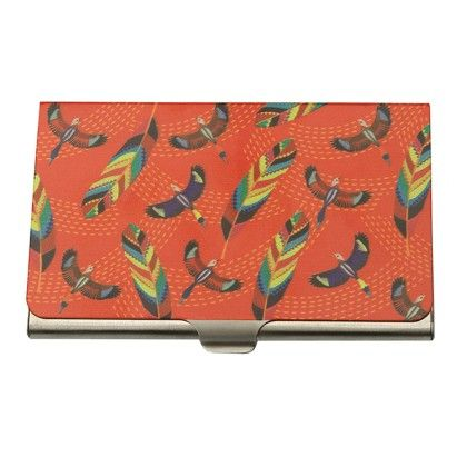 Steel Card Holder Red Tropical Birds & Feathers - The Elephant Company