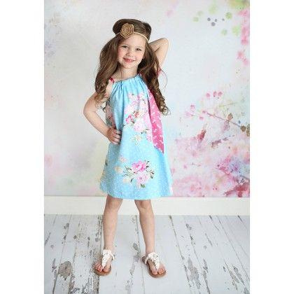 Light Blue & White Floral Pillow Case Dress - Dress Up Dreams