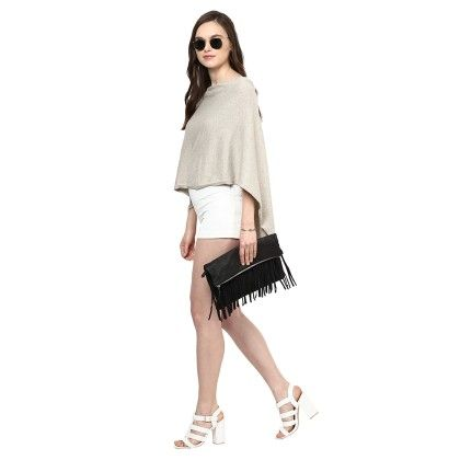 Knitted Poncho Cape Wrap Top - Pluchi