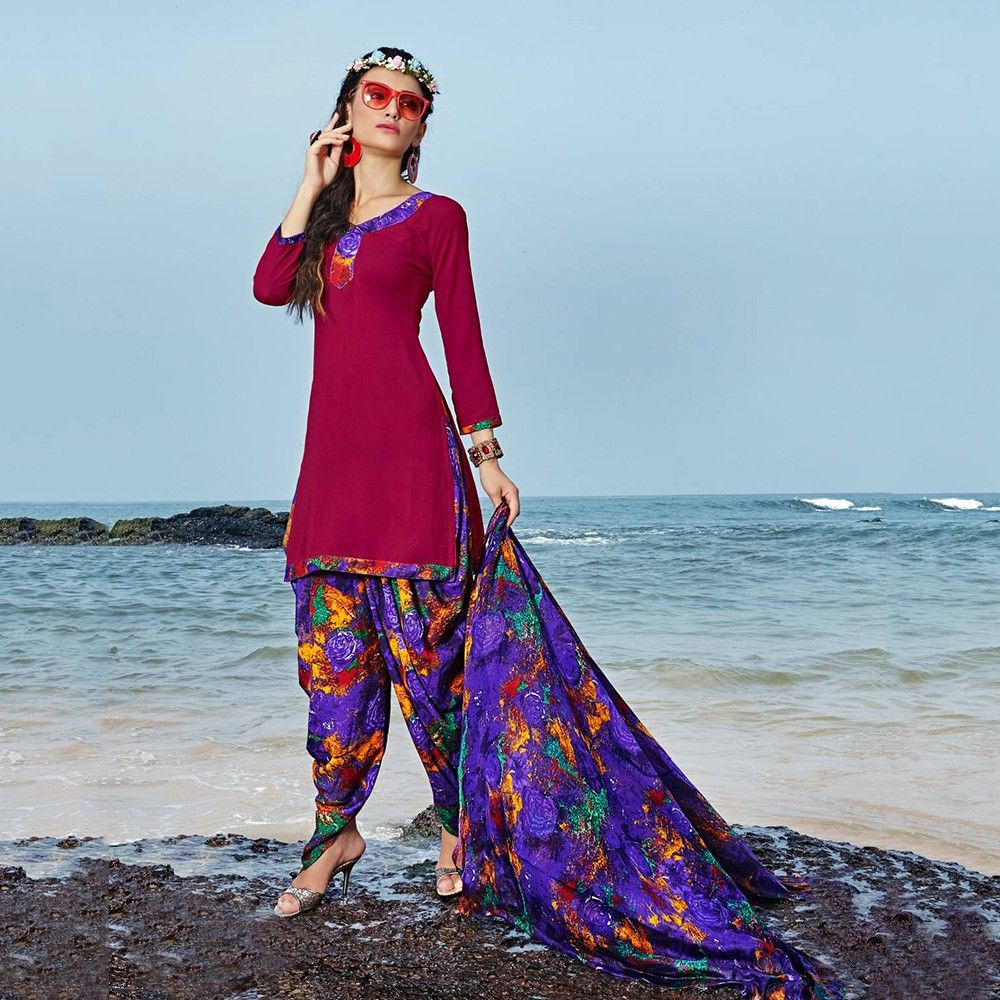 Hot Pink With Purple Multicolor Salwar And Dupatta Dress Material - Balloono