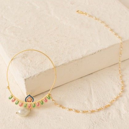 Colorful Nose-pin Rimmed With Pearl Beads In Golden Finish - Voylla