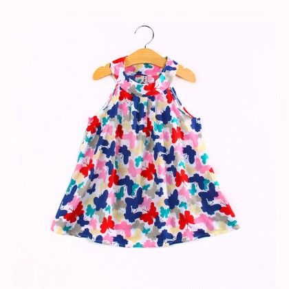 Beautiful Butterfly Print Halter Neck Dress - Child NY