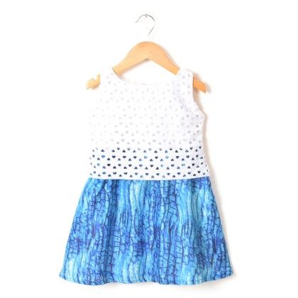 White & Blue Nutty Party Dress - Addis