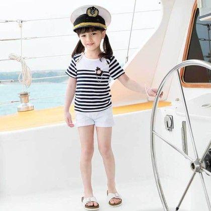 Set - White And Black Stripe Top With Shorts - Balloono