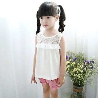 White Ruffled Lace Top And Shorts - Xia