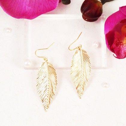 Allure Gold Leaf Earrings - Lime