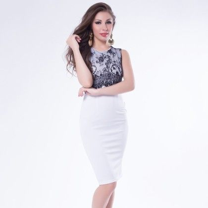 White Dress Lace And Lycra Bodycon Dress - Mauve Collection